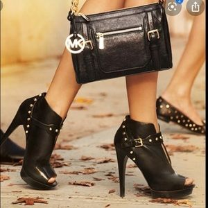 Michael Kors Ailee Open Toe Black on Black Booties